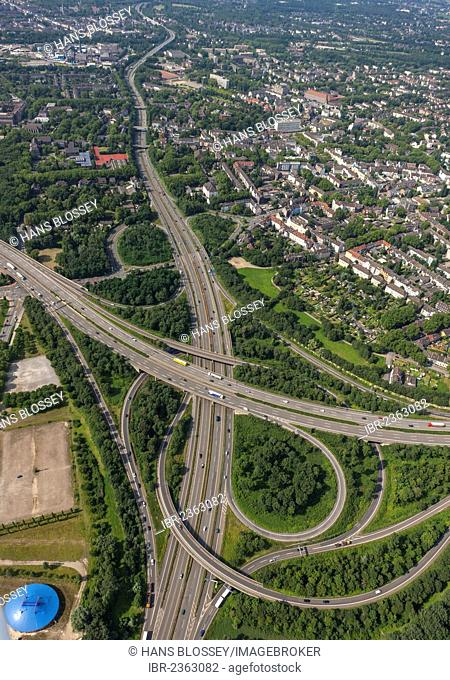 Aerial view, urban motorway A59, Duisburg Nord junction of motorways A42 and A59, Ruhr Area, North Rhine-Westphalia, Germany, Europe