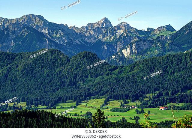 view to Tannheim Mountains, Germany, Bavaria, Oberbayern, Upper Bavaria, Ostalgaeu