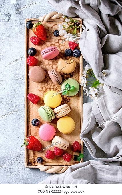 Variety of colorful french sweet dessert macaron macaroons with different fillings served on terracotta tray with spring flowers, berries