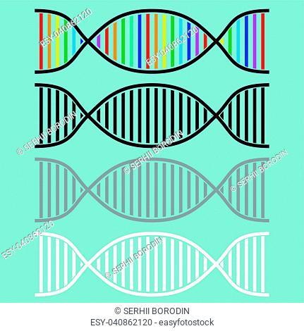 DNA or desoxyribonucleic acid icon set