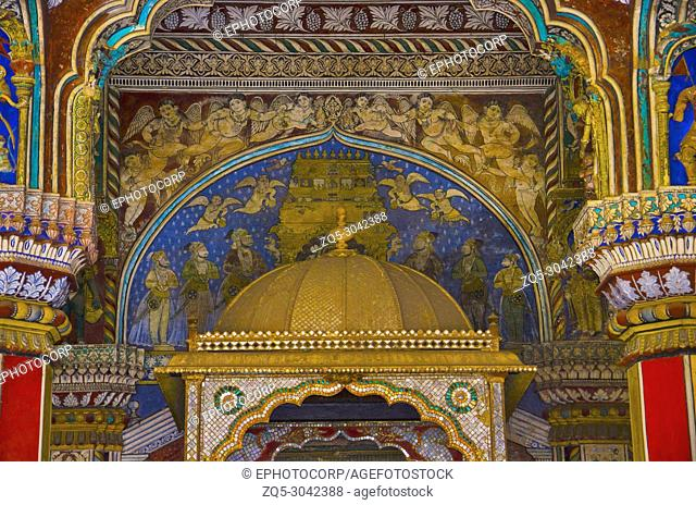 Colorful paintings on ceiling wall of Darbar Hall of the Thanjavur Maratha palace, Thanjavur, Tamil Nadu, India. Known locally as residence of the Bhonsle...