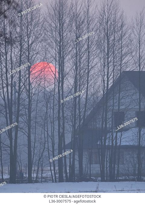 Poland. Winter. Sunset