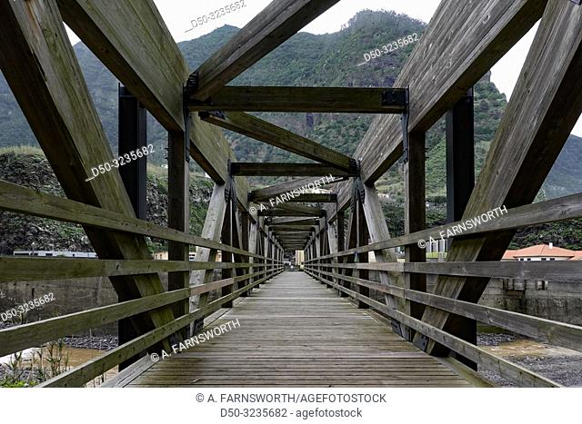 Sao Vicente, Madeira, Portugal A wooden bridge over the river