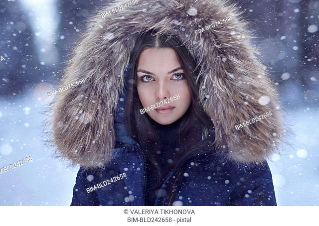 Portrait of serious Caucasian woman in winter