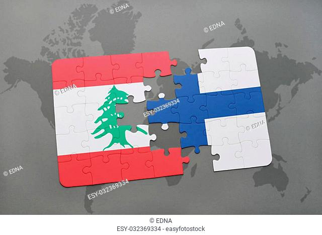 puzzle with the national flag of lebanon and finland on a world map background. 3D illustration
