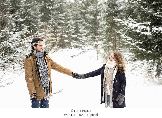 Happy young couple standing hand in hand in winter landscapelooking at each other
