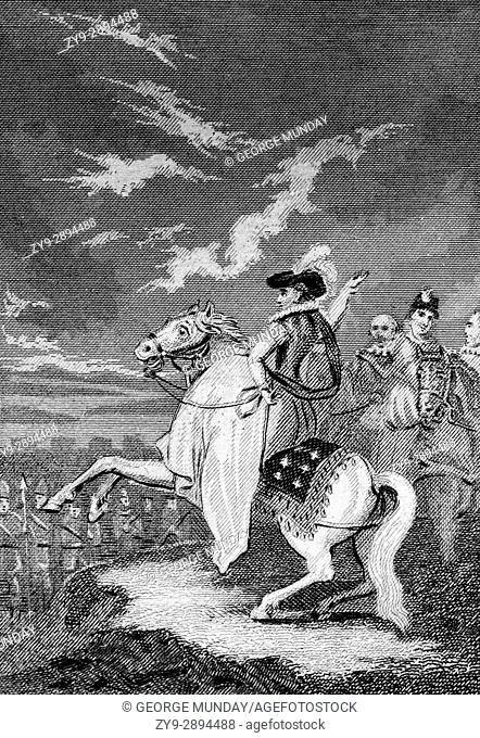 Elizabeth I (1533 - 1603) making a speech to the land forces earlier assembled at Tilbury in Essex in preparation for repelling the expected invasion by the...
