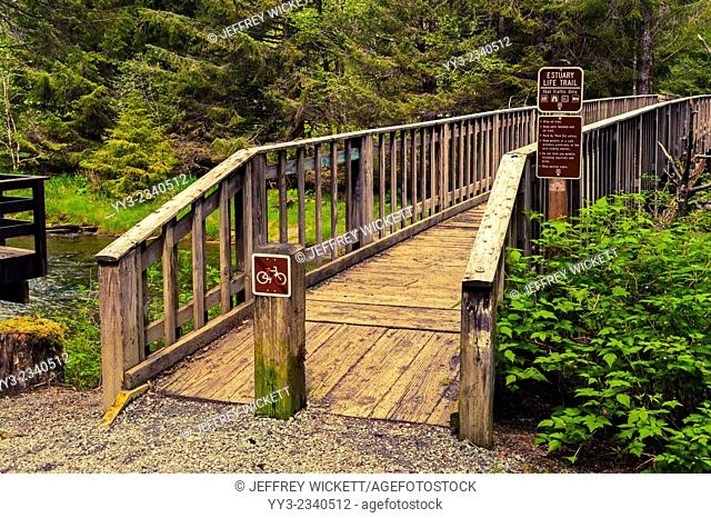 Walkway over Starrigavan River, Tongass National Forest, near Sitka, Alaska