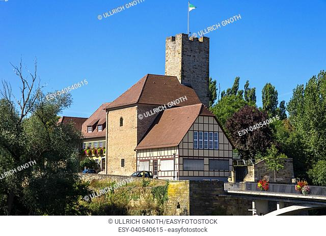 The Grafenburg Castle and townhall of the smalltown of Lauffen, Baden-Wurttemberg, Germany