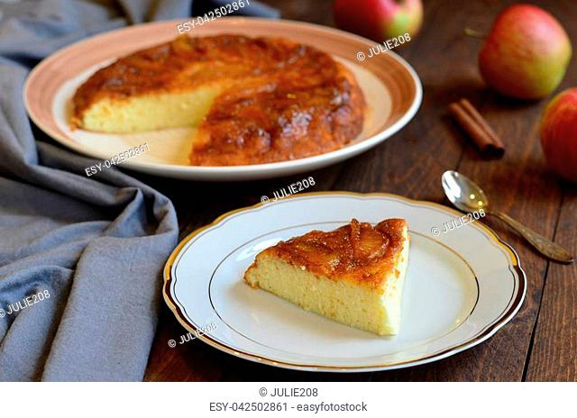 Homemade Apple Upside Down Cake on the Table