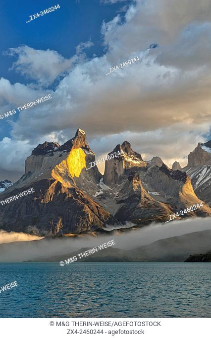 Sunrise over Cuernos del Paine, Torres del Paine National Park and Lago Pehoe, Chilean Patagonia, Chile