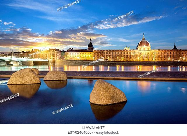 View from Rhone river in Lyon city at sunset, France