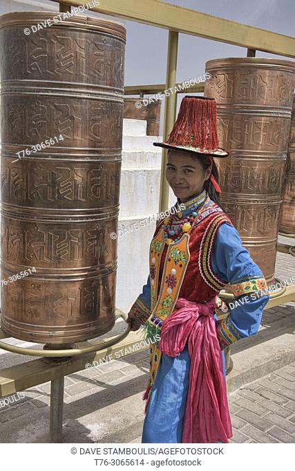 Traditional dress of the Yugur ethnic minority, Mati Si, Gansu, China