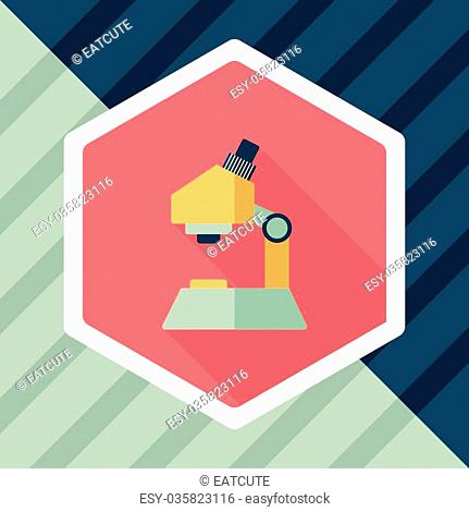 microscope flat icon with long shadow