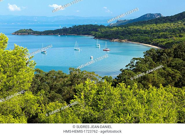 France, Var, Iles d'Hyeres, Porquerolles Island, From the Fort ste Agathe, overlooking the beach and the Pointe du Lequin