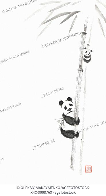 Cute big panda and a baby panda climbing bamboo trees, artistic oriental style illustration, Japanese Zen Sumi-e ink painting on white rice paper background