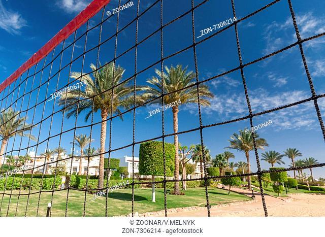 volleyball net on a background blue sky