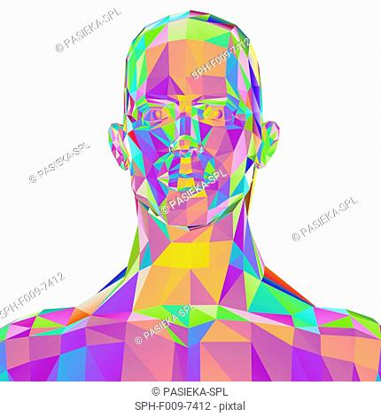 Geometric abstract polygonal male head, computer artwork