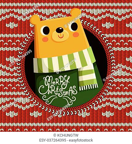 lovely bear isolated on Christmas knitted background