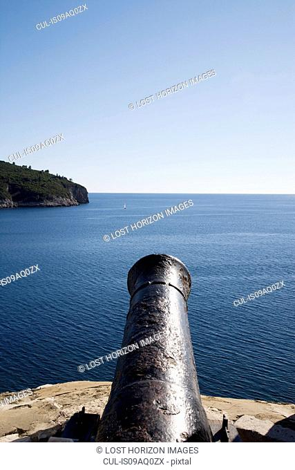 Old fort cannon pointing toward the Mediterranean Sea, Dubrovnik, Croatia