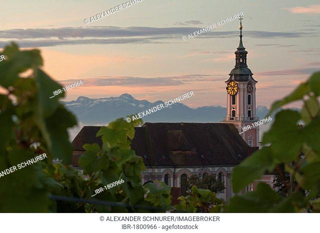 The pilgrimage church Birnau on Lake Constance at dawn with a view of the Saentis, Bodenseekreis district, Baden-Wuerttemberg, Germany, Europe