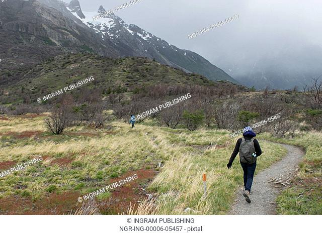 Hikers at W-Trek, Torres del Paine National Park, Patagonia, Chile