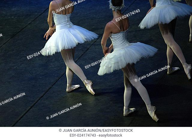 Ballet dancers performing Swan Lake of Pyotr Tchaikovsky and Petipa
