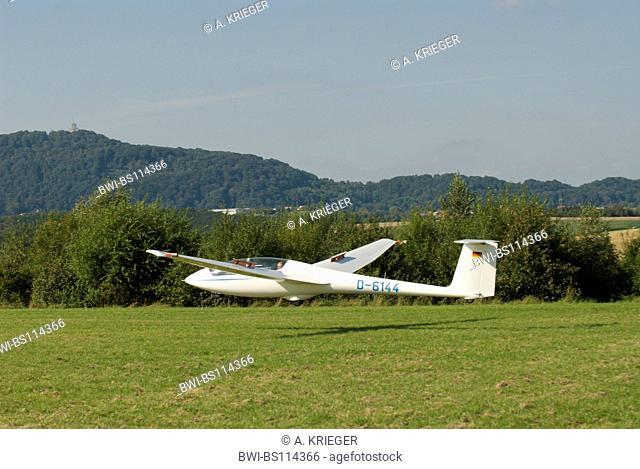 Glider ASK-21 landing, Germany, Saarland, Marpingen
