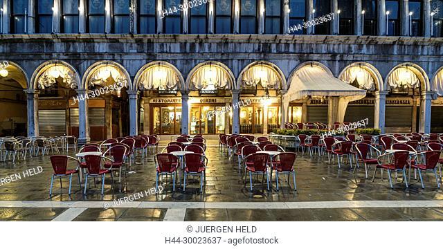 Restaurant Quadri at St Marks square, nobody, Venedig, Venezia, Venice, Italia, Europe