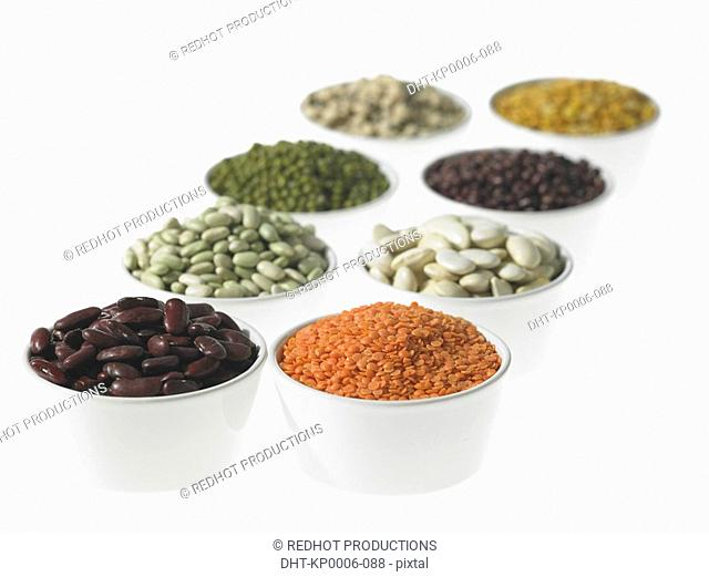 Eight bowls of various Beans