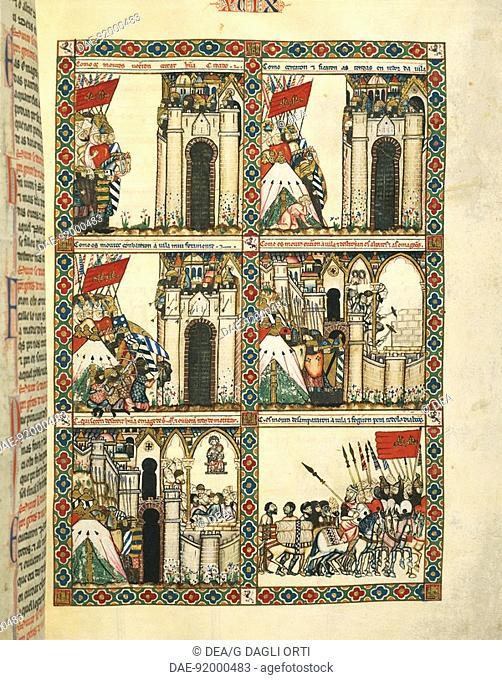 Scene of the crusades, from Las Cantigas de Santa Maria, 13th century Spanish manuscript. Crusades, 13th century