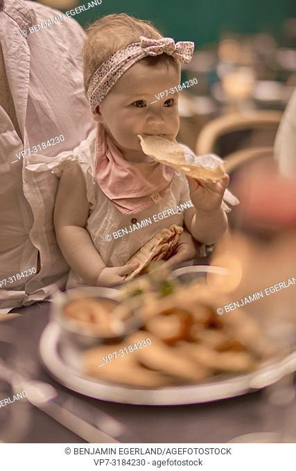 baby eating in restaurant, Vegan Oriental, Kismet, in Munich, Germany