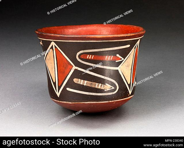 Cup with Diamond-Shape Geomeric Motifs - 180 B.C./A.D. 500 - Nazca South coast, Peru - Artist: Nazca, Origin: Nazca Valley, Date: 180 BC-500 AD