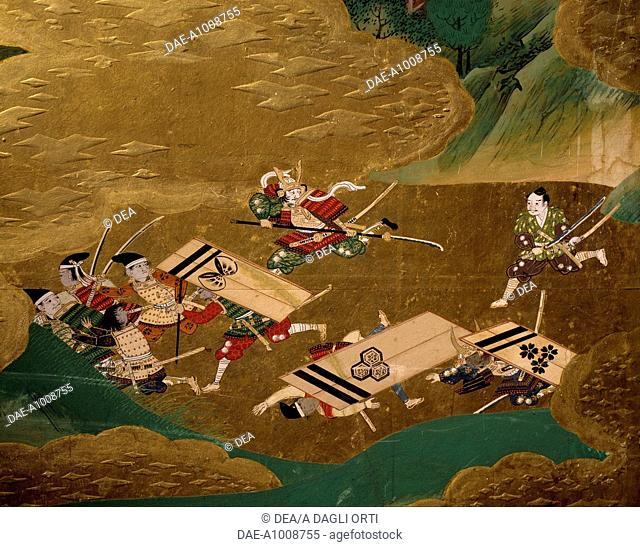 A samurai's enemies on the run, detail from a byobu (screen) depicting scenes from the 12th century Gempei war. Japan, Tosa School, Edo Period