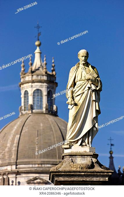 Statue of St. Ignatius of Loyola and the basilica dome, Sanctuary of Loyola, Azpeitia, Guipuzcoa, Basque Country, Spain