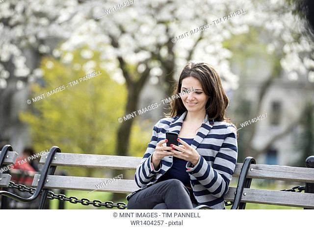 Outdoors in the city in spring time. New York City park. White blossom on the trees. A woman sitting on a bench holding her mobile phone