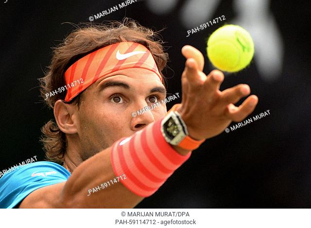 Rafael Nadal of Spain in action during the round of 16 match against Marcos Baghdatis of Cyprus at the ATP tennis tournament in Stuttgart, Germany, 11 June 2015