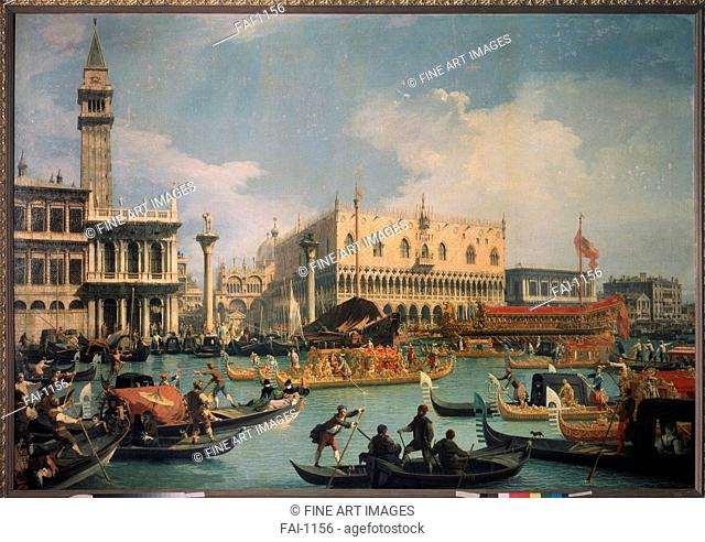 Buccentoro's Return to the Pier at the Doges' palace. Canaletto (1697-1768). Oil on canvas. Rococo. 1730s. State A. Pushkin Museum of Fine Arts, Moscow