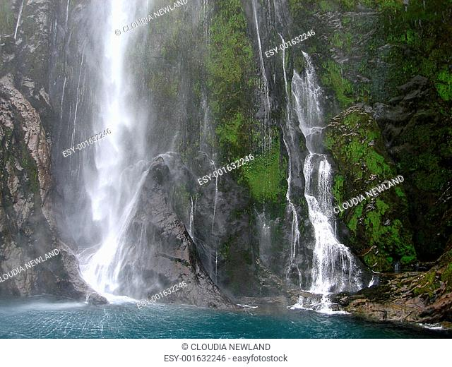 Base of Stirling Falls within Milford Sound, New Zealand. Te Wa