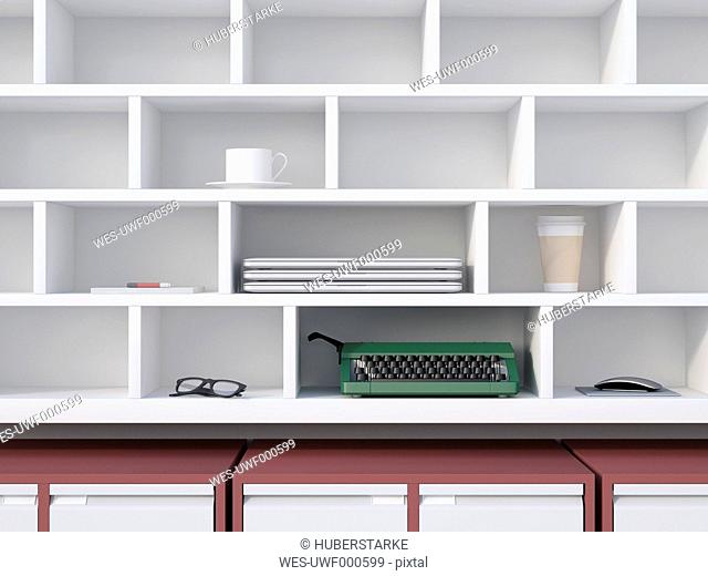 Office shelf with typewriter, laptops, coffe cup and other things, 3D Rendering
