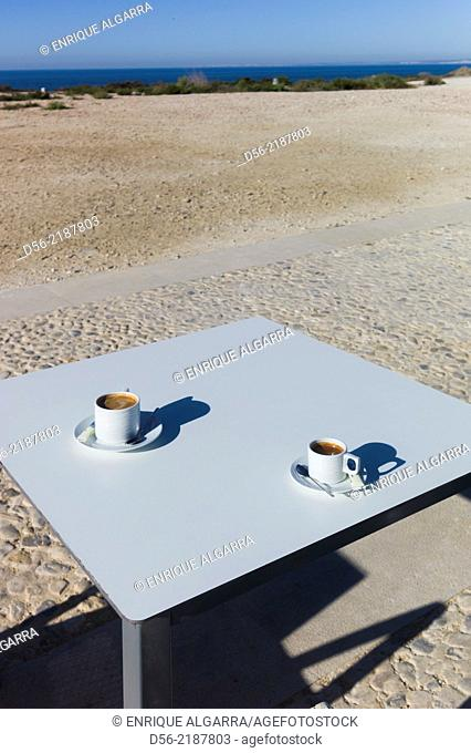 table with a pair of cup of coffees, Tabarca Island, Alicante province