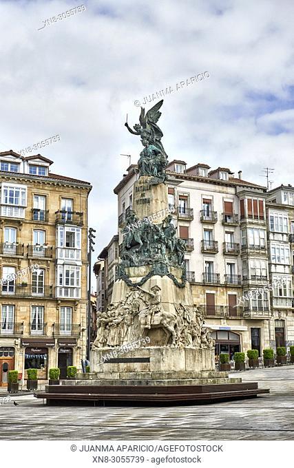 Monumento a la Batalla de Vitoria, Plaza de la Virgen Blanca, Vitoria, Gasteiz, Álava, Basque Country, Euskadi, Euskal Herria, Spain