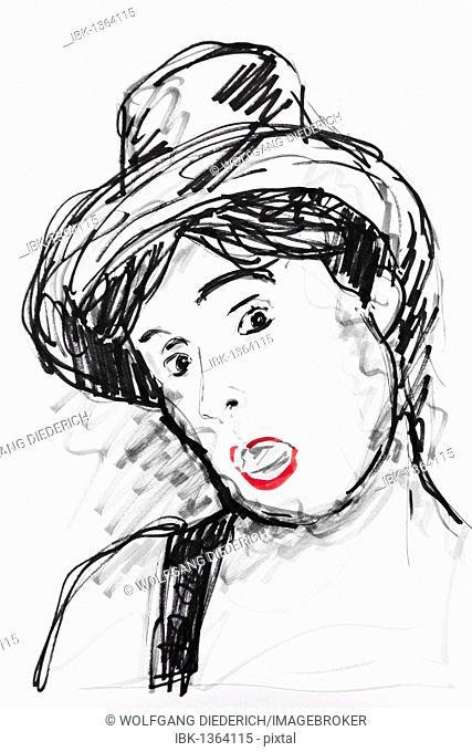 Portrait of a woman with a top hat, drawing artist, Gerhard Kraus, Kriftel