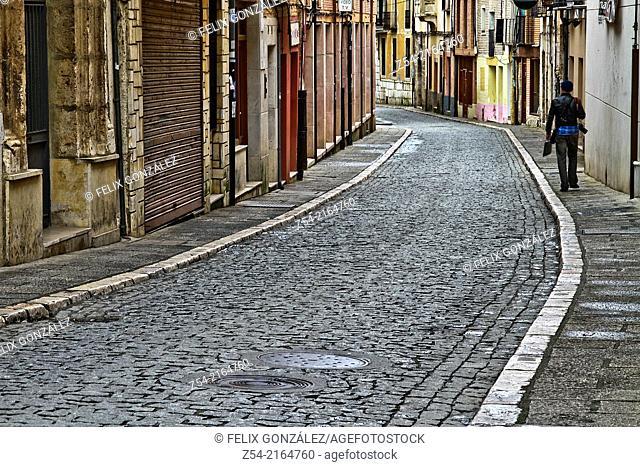 Paving stone street at Tordesillas, Valladolid, Castiel and Leon, Spain