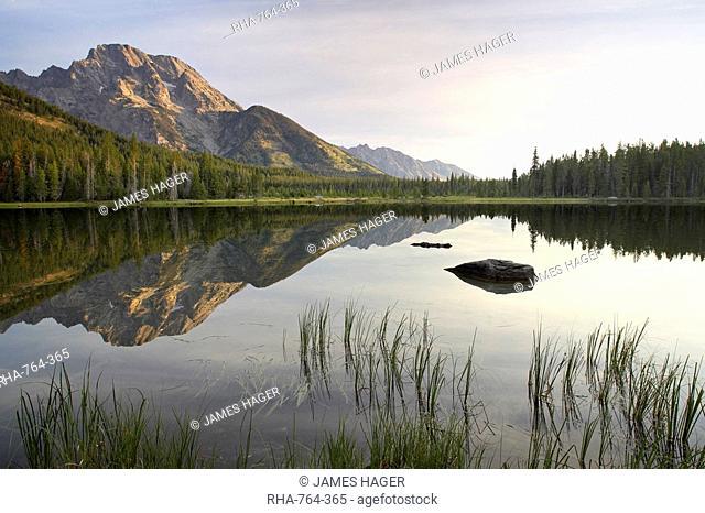 Mount Moran reflected in String Lake, Grand Teton National Park, Wyoming, United States of America, North America
