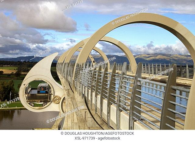 Falkirk Wheel CAMELON STIRLINGSHIRE Canal revolving boat lift boating basin Forth and Clyde and Union canals