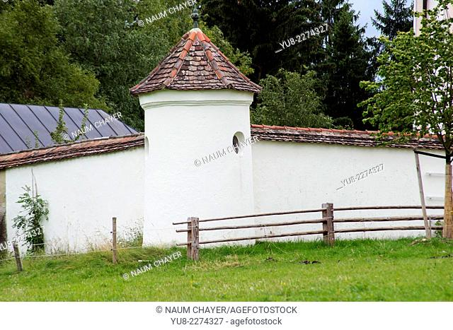 Part of Pilgrimage Church of Wies, Wieskirche, foothills of the Alps, Bavaria, Germany