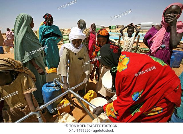 water well in a sudanese refugee camp in Chad