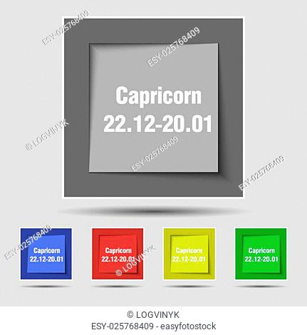 Capricorn icon sign on original five colored buttons. Vector illustration
