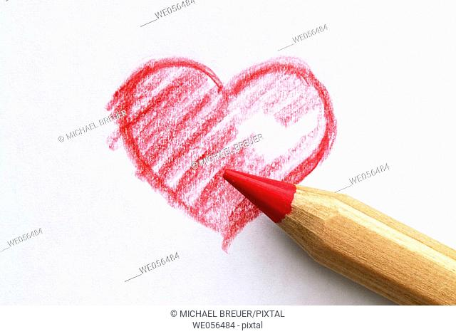 Heart, drawing with crayon